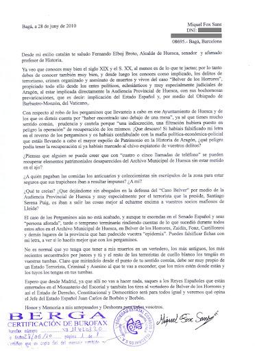 Burofax enviado por D. Miguel Fox a Fernando Elboj Broto
