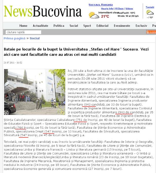 NewsBucovina.ro fabulează: concurenţă de 55 de candidaţi pe loc la USV