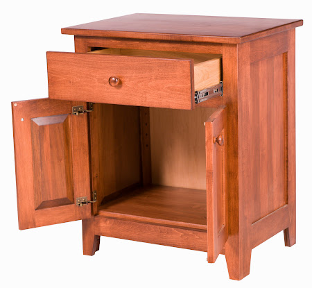 Shaker Nightstand with Doors, in Royal Maple