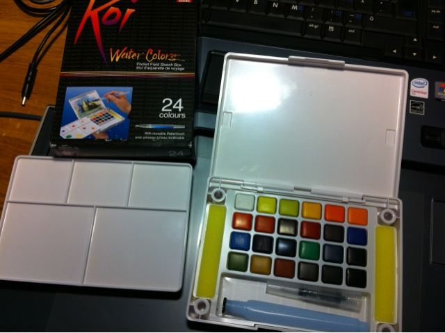 This Koi Watercolour set contains 24 colours, a tray, sponges and a Waterbrush.