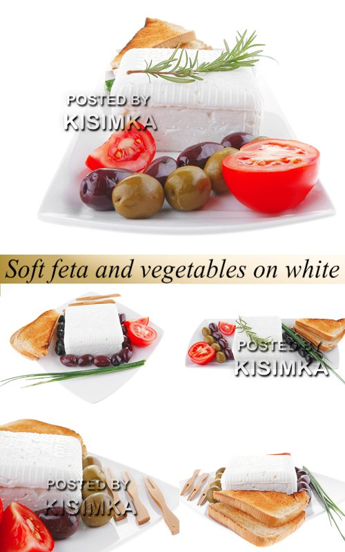 Stock Photo: Soft feta and vegetables on white