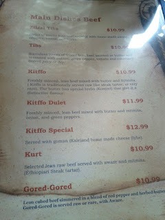 Blue Nile's Menu