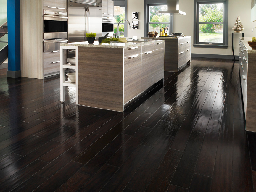 Dark wood floors with furniture design ideas
