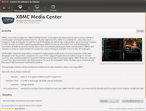 XBMC 11.0, Eden, en el Centro de Software de Ubuntu