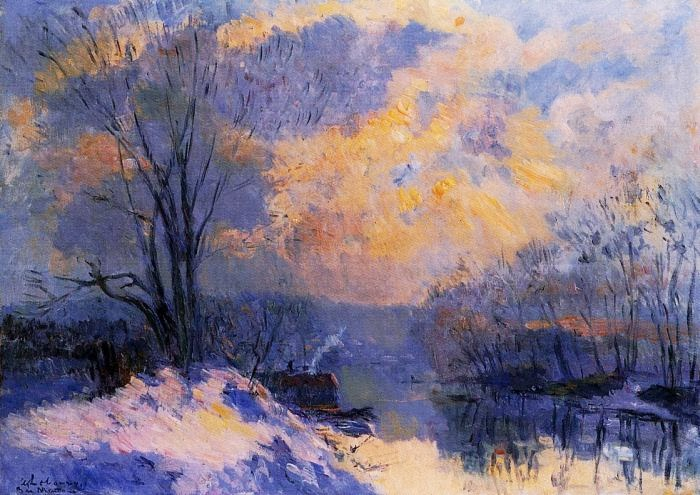 Albert Lebourg - The Small Branch of the Seine at Bas-Meudon. Snow and Wiinter Sun