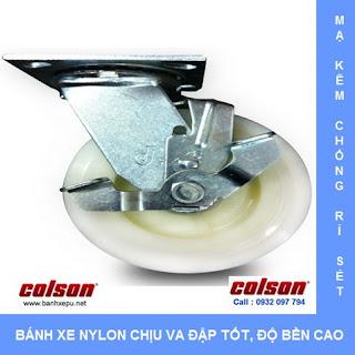 Bánh xe Nylon bánh xe đẩy chịu tải trọng ( 243~370kg) www.banhxepu.net