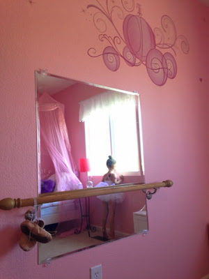 Little girl's bedroom ballet barre www.thebrighterwriter.blogspot.com #DIY