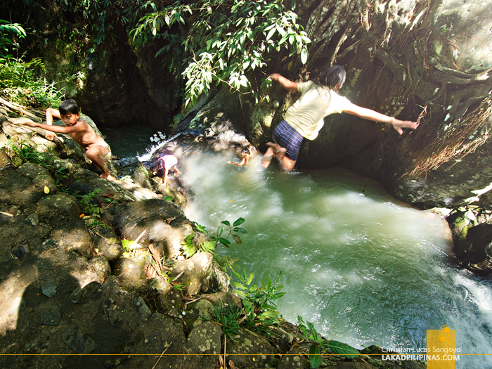 Cliff Jumping Kids at Mambukal's Seven Waterfalls