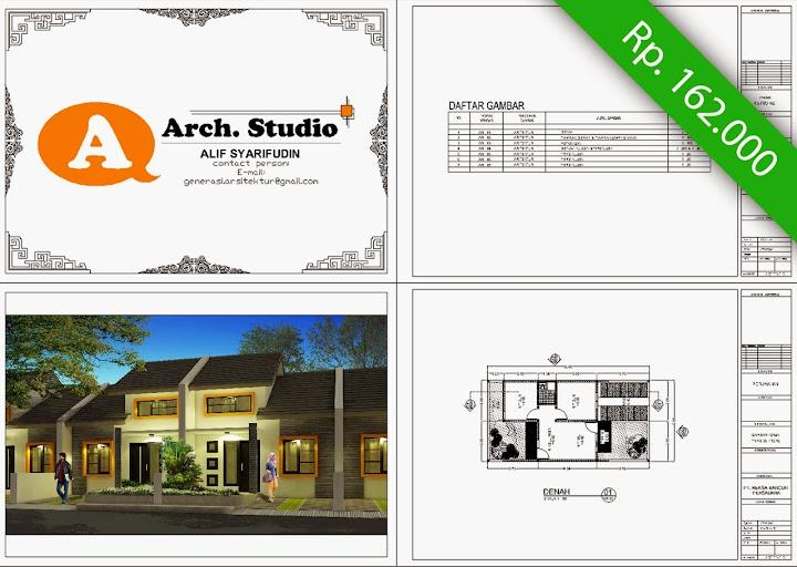 Gambar Kerja Rumah Type 36 dwg pdf Berbayar