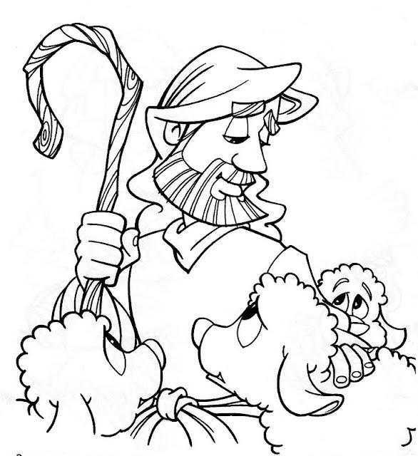 Jesús cuidando las ovejas para colorear
