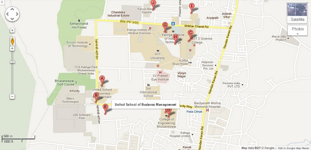 United School of Business Management Bhubaneswar Area Map