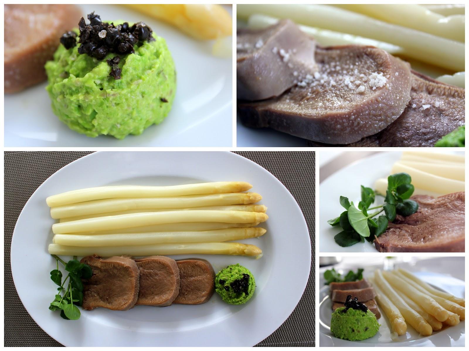 Kalbszunge mit Spargel, Erbsenpesto, fermentierter schwarzer Hochlandpfeffer | Arthurs Tochter Kocht by Astrid Paul