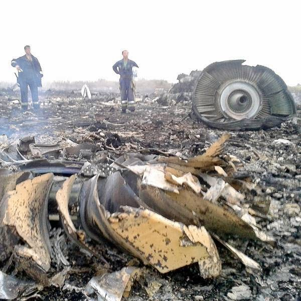 Emergencies Ministry members work at the site of a Malaysia Airlines Boeing 777 plane crash in the settlement of Grabovo in the Donetsk region, July 17, 2014.