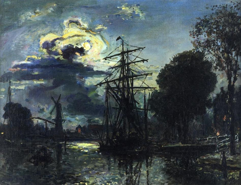 Johan Jongkind - Canal in the Moonlight
