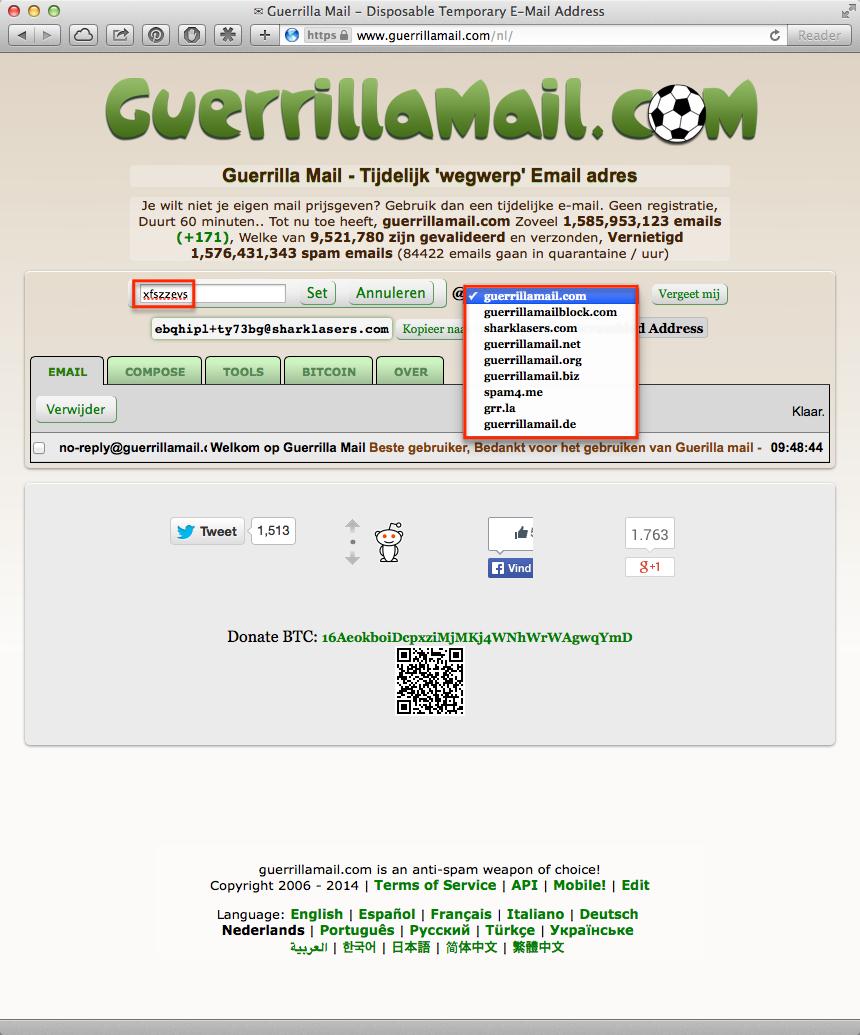 Tijdelijk e-mailadres met www.guerrillamail.com