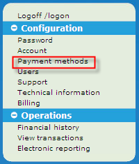 payment methods menu