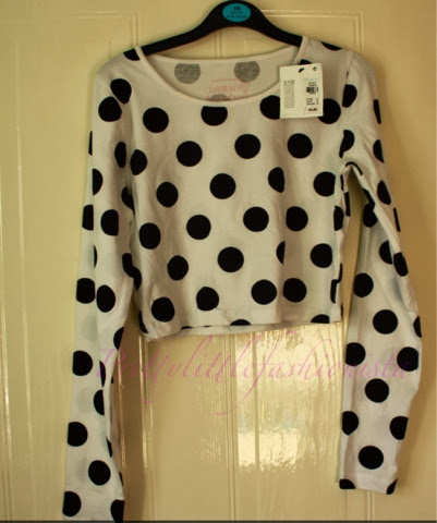 White and black spotted crop top Primark