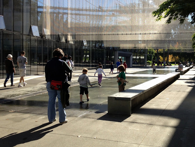 The water walk between McCaw Hall and Exhibition Hall at the Seattle Center.