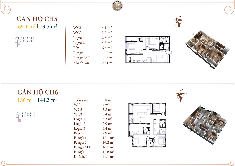 Chi tiết căn hộ 05 06 chung cư Roman Plaza