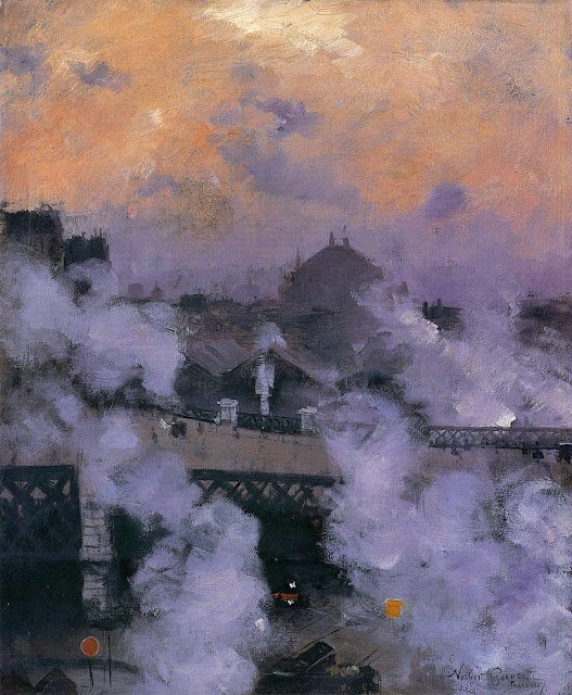 Norbert Goeneutte - The Pont de l'Europe at Night