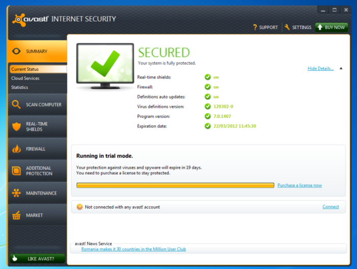Screenshot of Avast Internet Security v8.0.1482 Final Full Security Tools PC Software Free Download at alldownloads4u.com