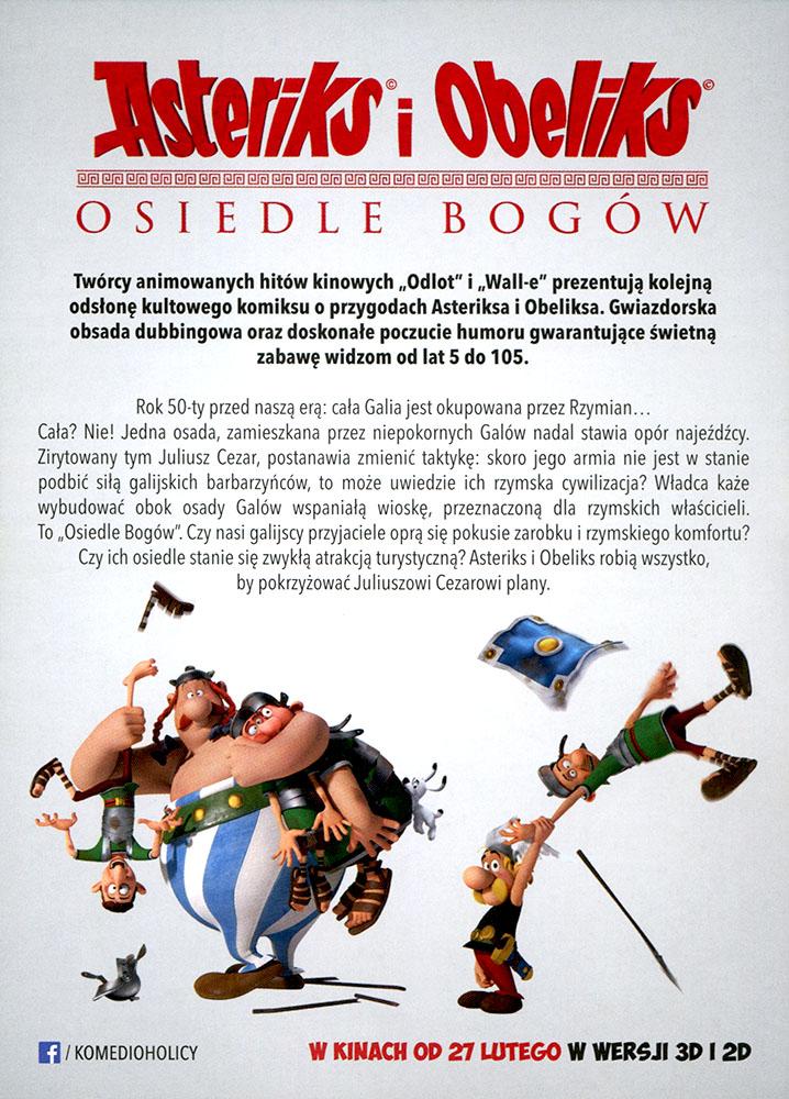 Ulotka filmu 'Asteriks i Obeliks: Osiedle Bogów (tył)'