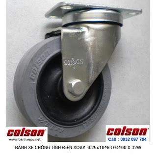 Bánh xe chống tĩnh điện Colson Mỹ càng xoay phi 100 | 2-4646-445C