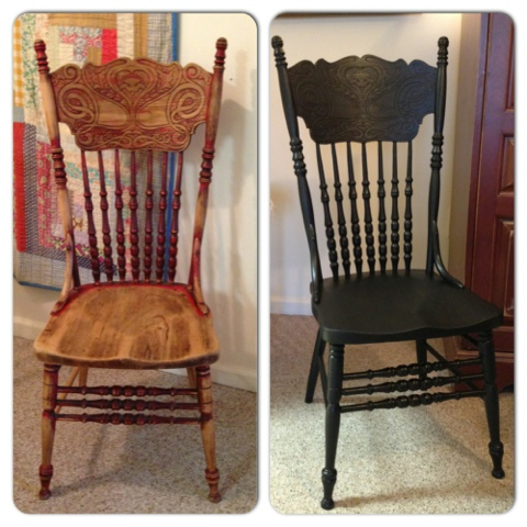 ... red with distressing, since the red was already there. Then I put a top  coat of Minwax polycrylic over it. I think my chair looks amazing! Check it  out. - The Weathered Chest: Another Pressback Chair Makeover!