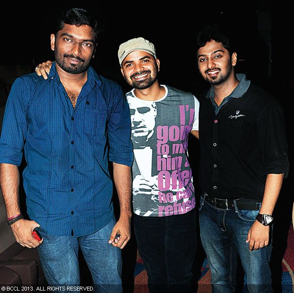 Ranjith, Vinay Forrt and Vishnu during Vinu Mohan, Vidya's wedding reception held in Kerala.