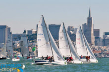 J/70s sailing off St Francis YC in San Francisco