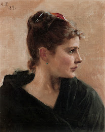 EDELFELT, Albert  The head of a woman 1885