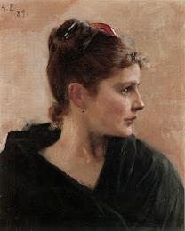 EDELFELT, Albert  The head of a woman 1885