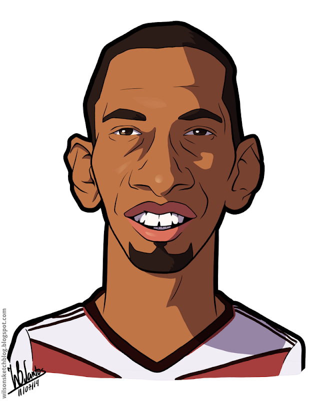 Cartoon caricature of Jérôme Boateng.