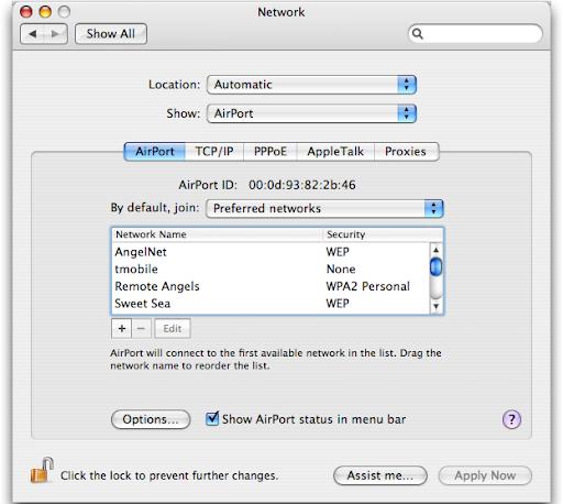 Wifi Mac OS X