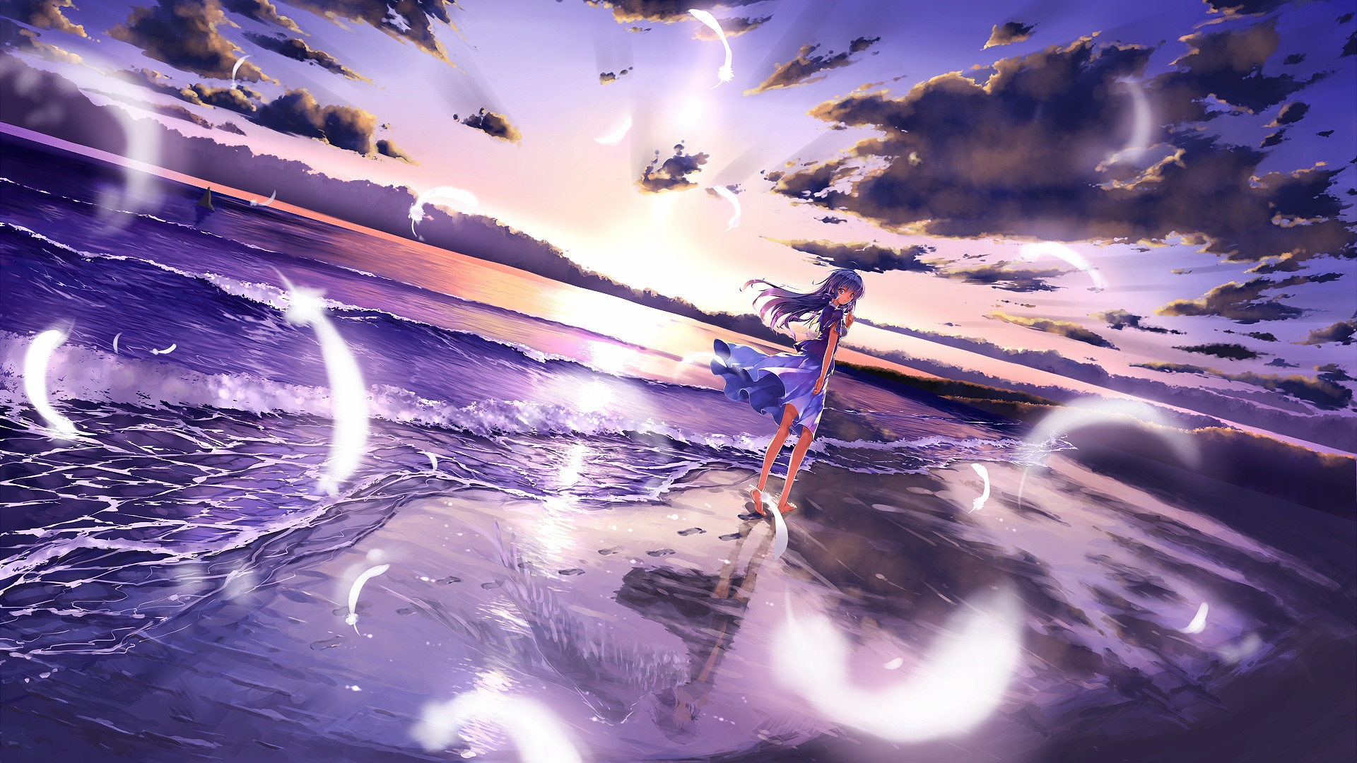 Anime Girl Beach Mystery Wallpaper