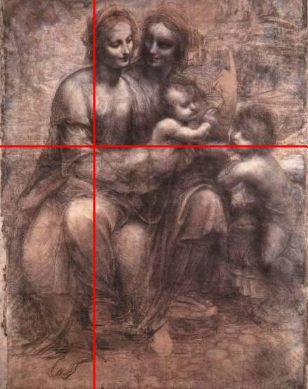 Эскиз Леонардо да Винчи «Мадонна с младенцем, со Святой Анной и Святым Иоанном Крестителем»