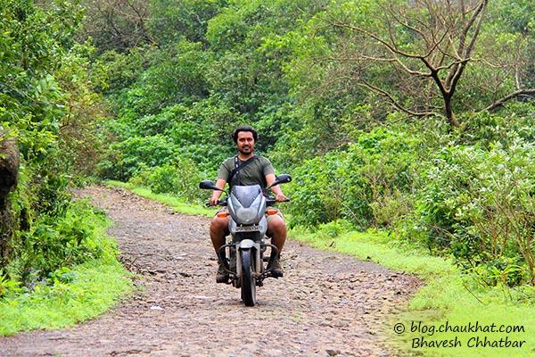 Bhavesh motorbiking at Rajmachi