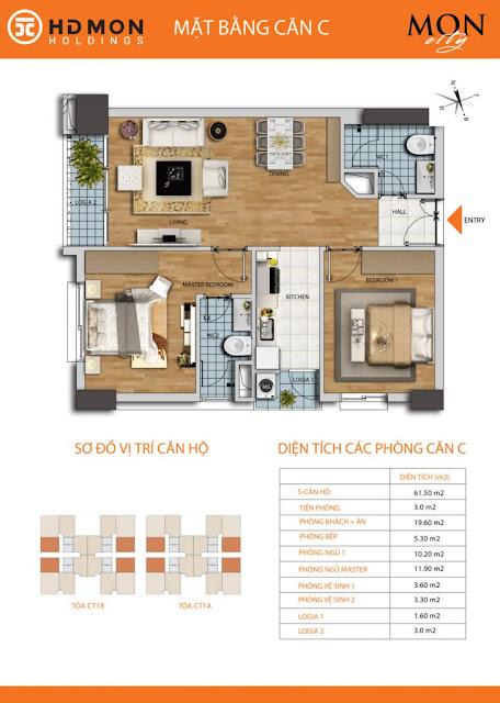 Căn hộ C diện tích 61m2 với thiết kế 02 phòng ngủ