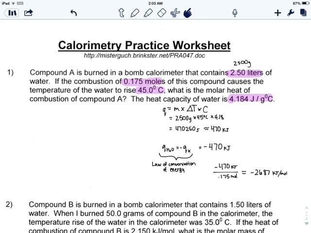 Tyra Tobiason Chemistry – Calorimetry Worksheet