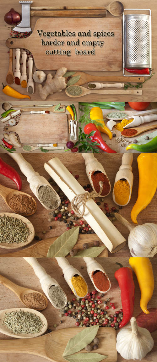 Stock Photo: Vegetables and spices border and empty cutting board