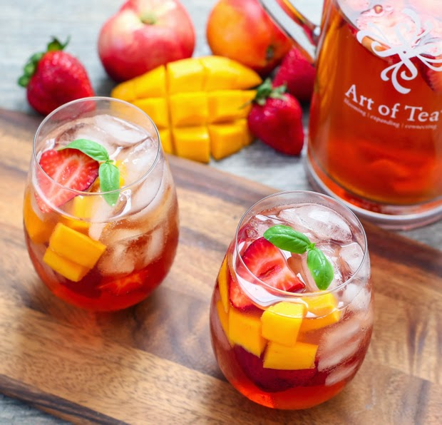 overhead photo of two glasses of Iced Tea Sangria