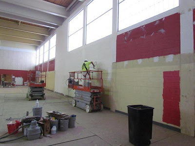 Gym walls getting painted