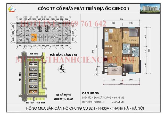 Sơ đồ chi tiết căn hộ chung cư b2.1 HH03A căn 30