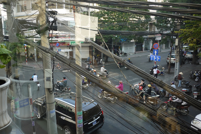 view outside from a 2nd floor cafe in Ho Chi Minh City, Vietnam