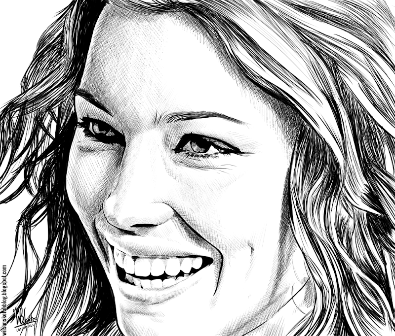 Ink drawing of Jessica Biel, using Krita 2.4.