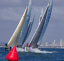J/105 one-design sailboats sailing offshore