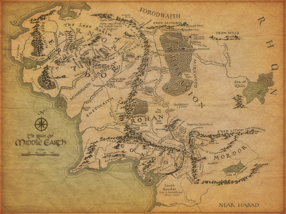 Inspired by Lord of the Rings Embroidered Map of Middle Earth