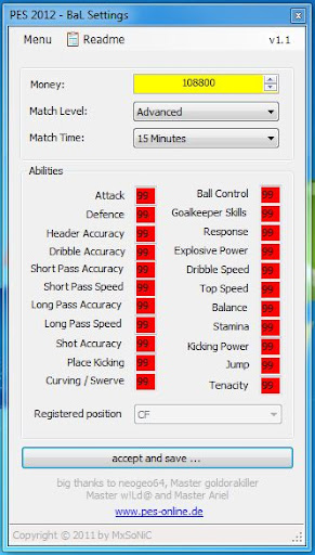BAL Settings 1.1 - PES 2012