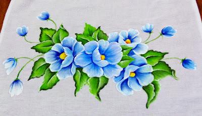 pintura tecido papoulas azuis