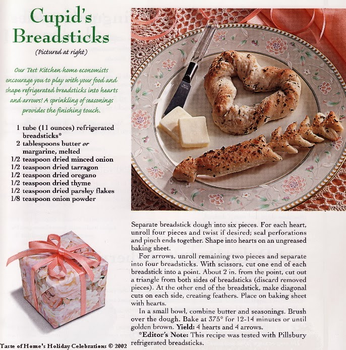 Cupid's Breadsticks | Taste of Home Holiday Celebrations 2002